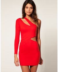 ASOS Collection | Red Asos Bodycon Dress with One Sleeve | Lyst