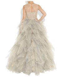 Oscar de la Renta   Beige Tulle Sleeveless Gown   Lyst
