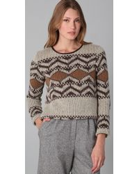 Porter Grey | Brown Cropped Adirondack Sweater | Lyst