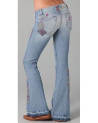 Textile Elizabeth and James | Blue Embroidered Jimi Flare Jeans | Lyst