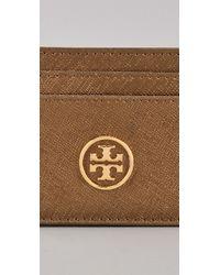 Tory Burch - Metallic Saffiano Robinson Slim Card Case - Lyst