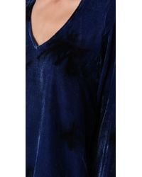 Blu Moon - V Neck Bell Sleeve Blouse in Blue Tie Dye - Lyst