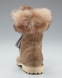 Brunello Cucinelli - Brown Fur-lined Suede Hiker Boot - Lyst