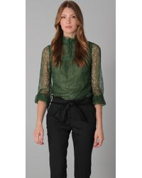 RED Valentino | Green Mock Neck Lace Blouse | Lyst