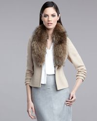 St. John | Natural Fur-collar Jacket | Lyst