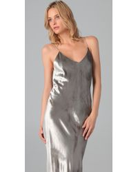 T By Alexander Wang - Metallic Panne Velvet Cami Long Dress - Lyst