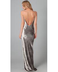 T By Alexander Wang - Metallic Panne Velvet Cami Long Dress - Lyst