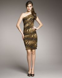 Tadashi Shoji | Multicolor One-shoulder Animal-print Dress | Lyst