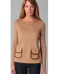Tory Burch - Brown Octaria Sweater with Leather Trim - Lyst
