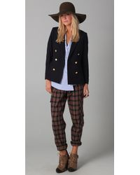 Boy by Band of Outsiders   Blue Cropped Double Breasted Blazer   Lyst