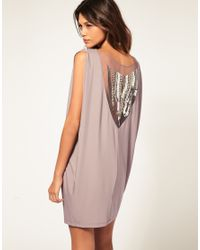 ASOS Collection | Pink Asos Dress with Embellished Back | Lyst