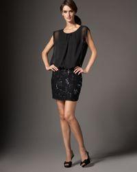 Aidan Mattox | Black Beaded Skirt Blouson Dress | Lyst