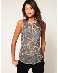 ASOS Gray Vest With Diamond Embellished Dipped Back