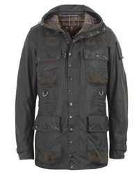 Barbour | Gray Moss Waxed Cotton Military Jacket for Men | Lyst