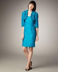 Bigio Collection - Blue Ruffled Bolero & Sleeveless Dress - Lyst