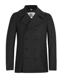 Burberry Black Double Breasted Addison Pea Coat for men