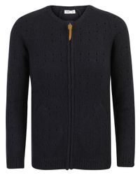 Folk | Blue Navy Pointelle Knitted Zip Cardigan for Men | Lyst