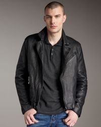 John Varvatos | Black Leather Biker Jacket for Men | Lyst