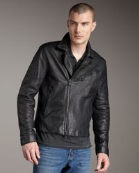 John Varvatos - Black Leather Biker Jacket for Men - Lyst