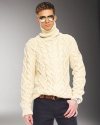 Michael Kors Natural Handknit Cable Sweater for men