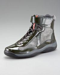 Prada Green Patent Hi-top Sneaker for men
