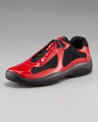 Prada Black Vernice Bike Sneaker for men