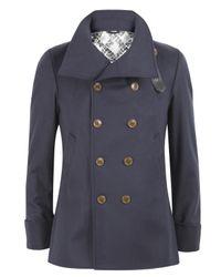 Vivienne Westwood - Blue Navy Melton Neck Strap Pea Coat for Men - Lyst
