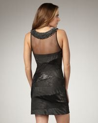 Alberto Makali Black Beaded Necklace Mixed Media Dress