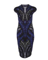 Alexander McQueen | Blue Butterfly Print Intarsia Pencil Dress | Lyst