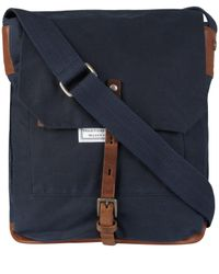 Ally Capellino - Blue Navy Slim Waxed Cotton Jonathon Messenger Bag for Men - Lyst