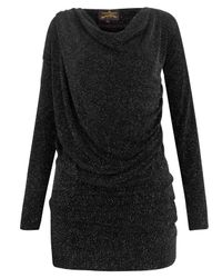 Vivienne Westwood Anglomania Black Glitter Drape Top