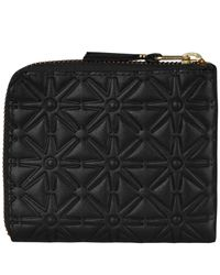 Comme des Garçons - Black Embossed Half Zip Wallet for Men - Lyst