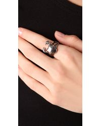 Elizabeth and James - Metallic Crab Ring with Ruby Eyes - Lyst