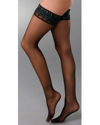 Falke Black Lunelle 8 Peacock Stay Up Tights