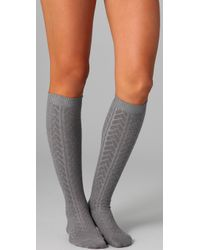 Falke | Gray Striggings Cable Knit Knee High Socks | Lyst