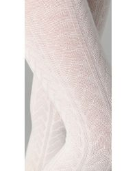 Falke - White Striggings Cable Knit Tights - Lyst