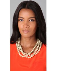 Fallon - Metallic Large 3 Strand Pearl Necklace - Lyst