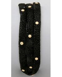 Gorjana - Black Graham Studded Leather Wrap Bracelet - Lyst