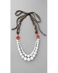 Juicy Couture - White Brentwood Prepster Beaded Necklace - Lyst