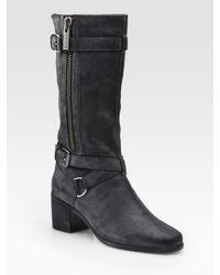 Kors by Michael Kors Black Alani Distressed Leather Boots