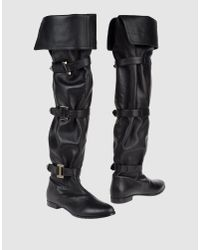 Le Silla | Black 20mm Swarovski Quilted Leather Boots | Lyst