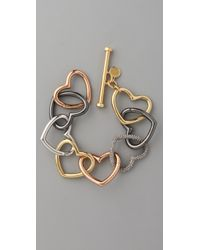 Marc By Marc Jacobs | Metallic Love Edge Tumbled Pave Heart Bracelet | Lyst