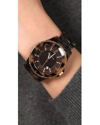 Michael Kors   Brown Round Oversized Tortoiseshell Watch   Lyst