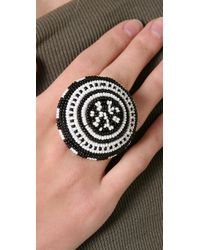 Noir Jewelry - White Beaded Cocktail Ring - Lyst