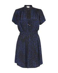 Sea | Blue Broken Chain Print Lace Neck Dress | Lyst