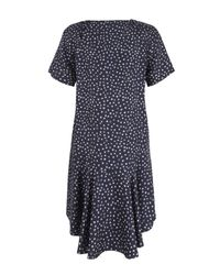 Sea Blue Navy Star Print Silk Tea Dress