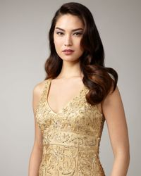 Sue Wong - Metallic Applique Dress - Lyst