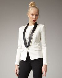 Tibi | Natural Leather-lapel Tuxedo Jacket | Lyst