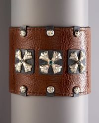 Armenta | Brown Pointed Cross Leather Cuff for Men | Lyst