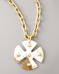 Ashley Pittman | Metallic Light Horn Maltese Cross Pendant | Lyst